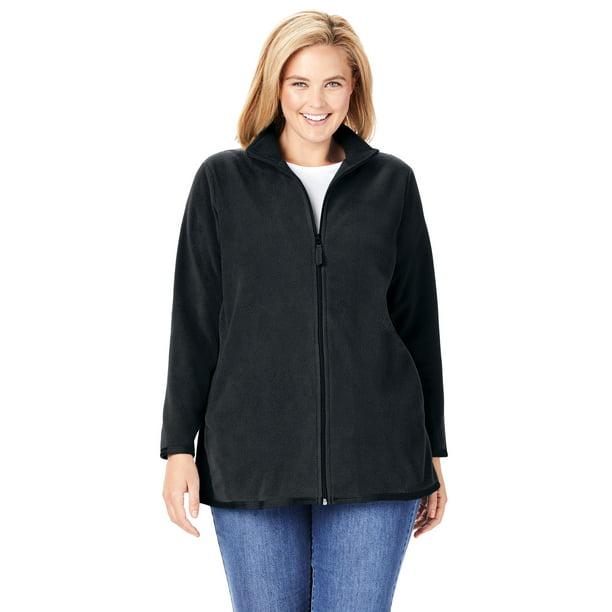 black fleece jacket walmart : Woman Within Women's Plus Size Zip-Front Microfleece Jacket Fleece