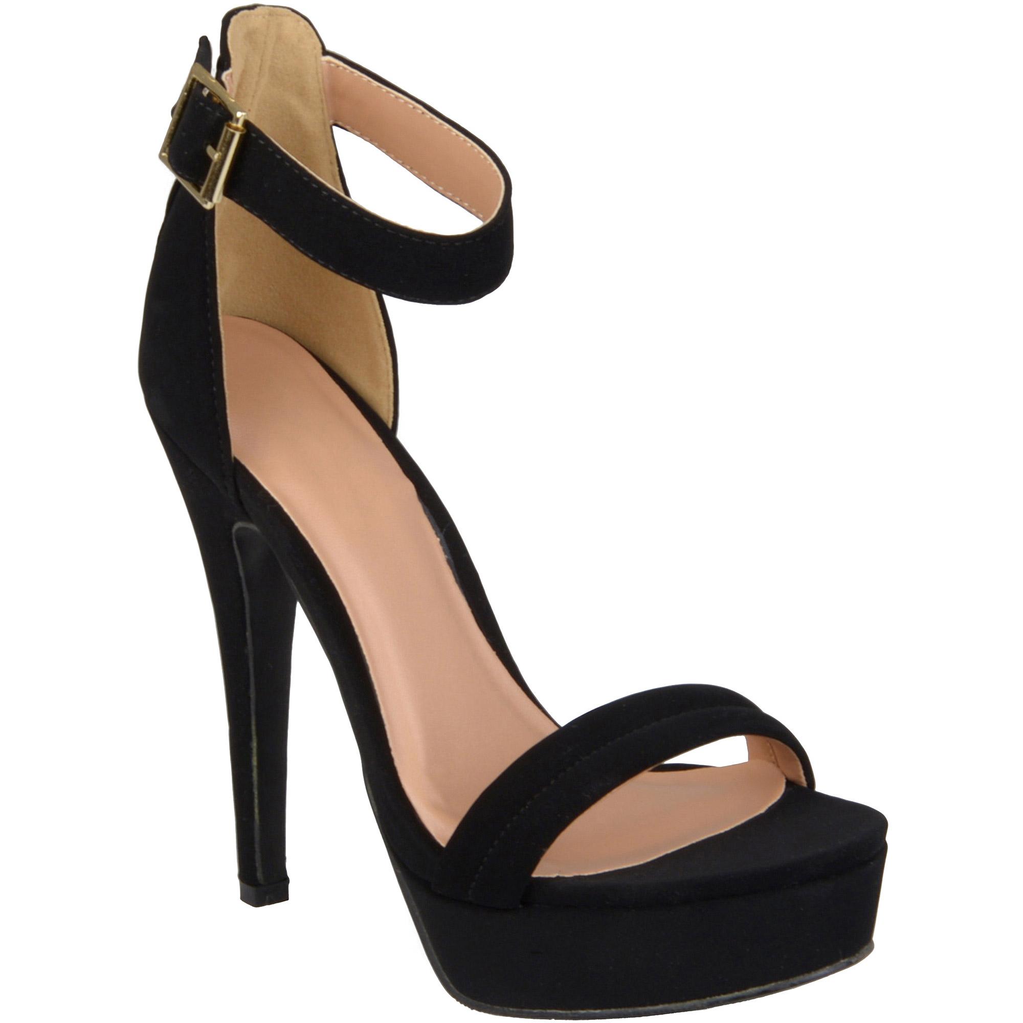 Brinley Co. Womens Ankle Strap Platform Stilettos