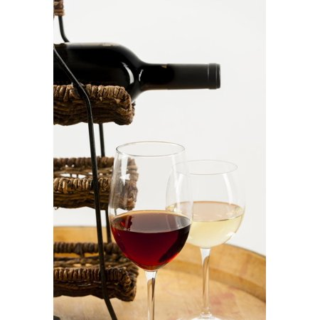 USA, Washington State, Seattle. Glass of red and white wine on a barrel. Print Wall Art By Richard Duval