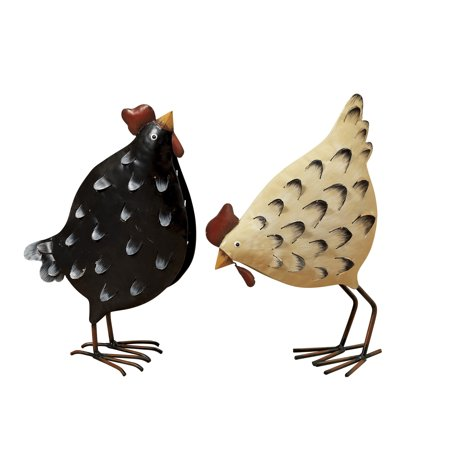 Gerson 12.5-Inch Tall Metal Chicken Figurines (Set of 2)