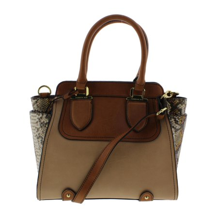 London Fog Womens Faux Leather Snake Print Satchel Handbag Tan Medium