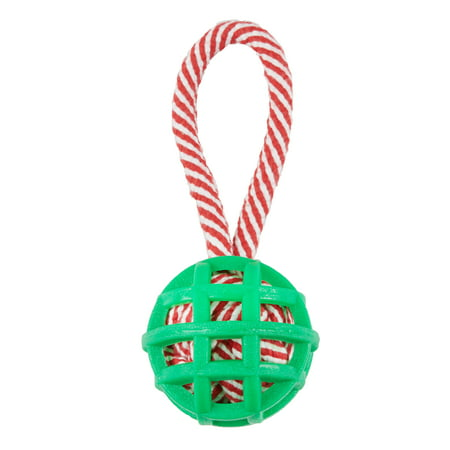 Holiday Time Ball Rope Tug Dog Toy