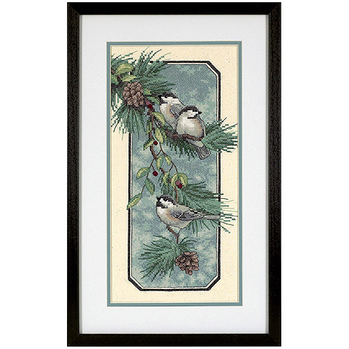 "Dimensions ""Chickadees On A Branch"" Stamped Cross Stitch Kit, 8"" x 16"""