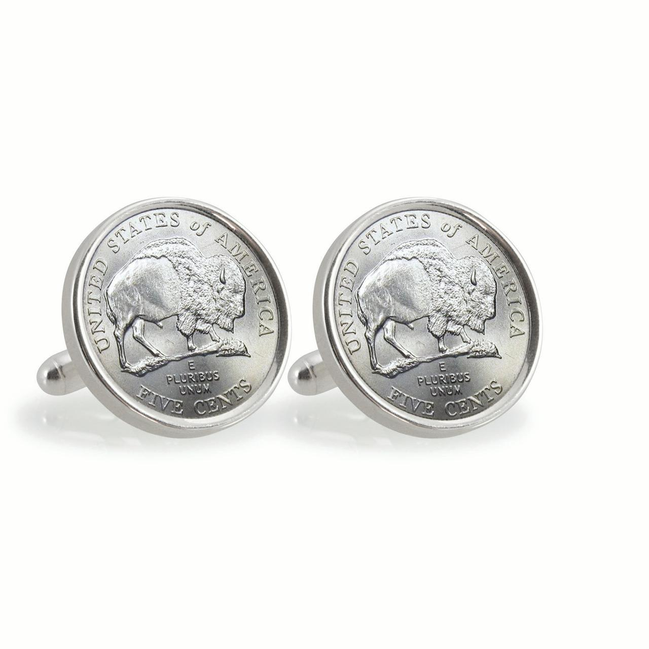2005 Bison Nickel Sterling Silver Coin Cuff Links