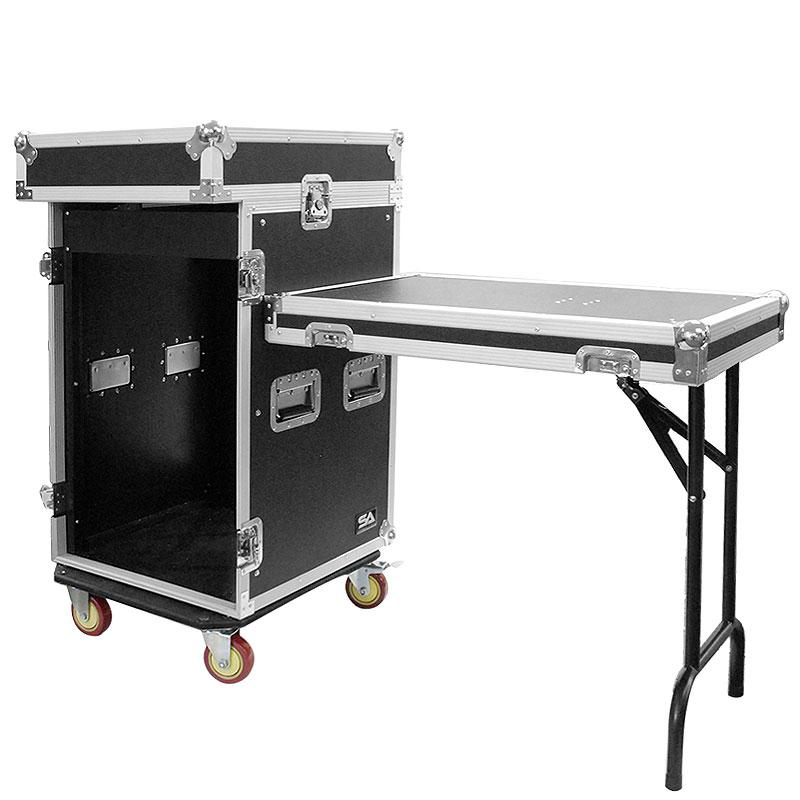 Seismic Audio 16 Space Rack Case with 10 Space Slant Mixer Top and DJ Work Table - 16U DJ Case - SAMRWT-16U