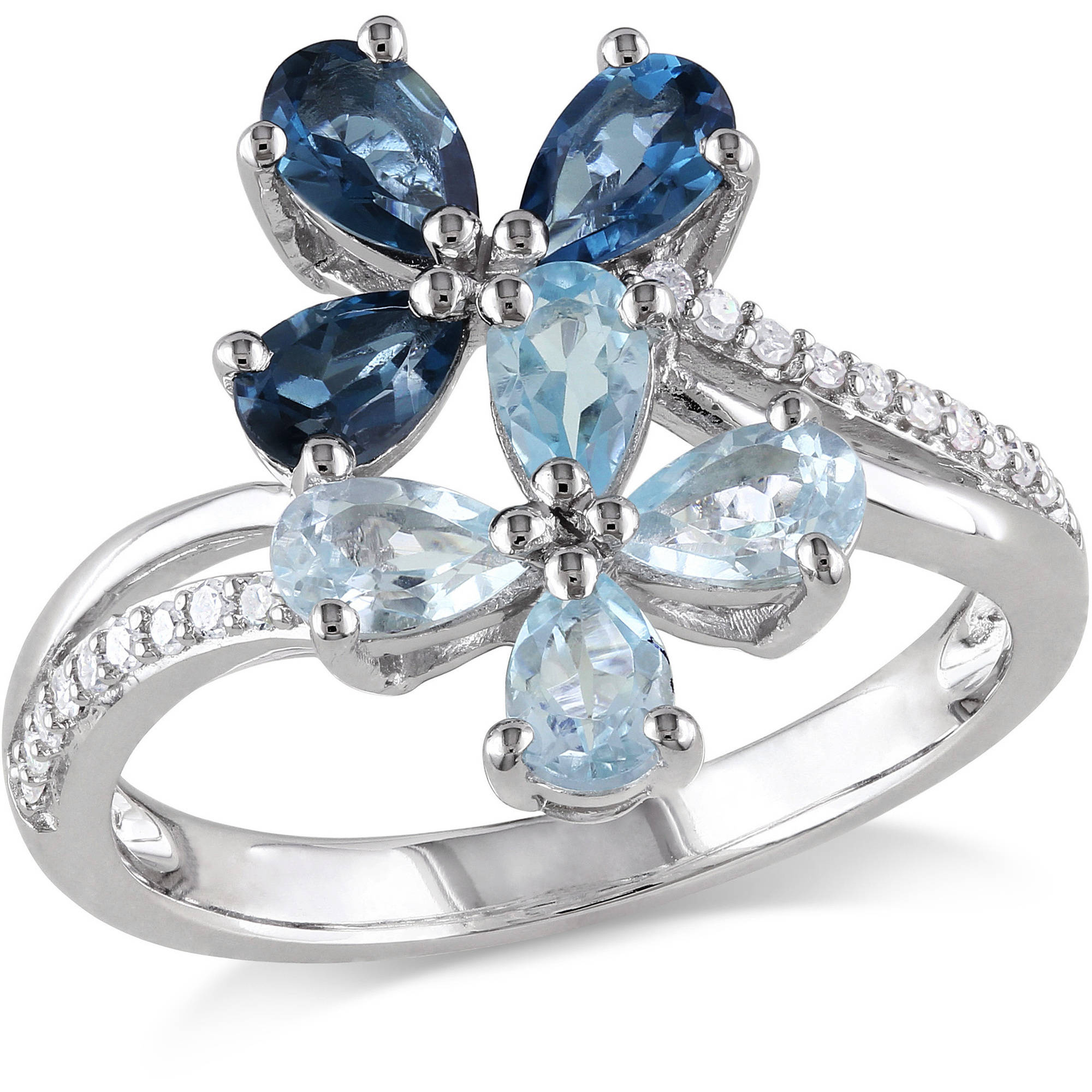 1-3/4 Carat T.G.W. Sky Blue Topaz and London Blue Topaz with Diamond-Accent Sterling Silver Bypass Flower Ring