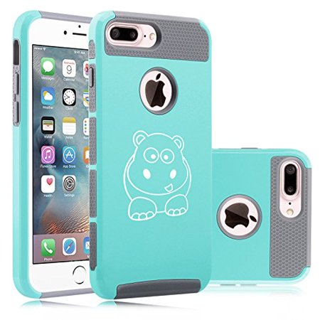 For Apple iPhone (7 Plus) Shockproof Impact Hard Soft Case Cover Baby Hippo (Teal-Gray) (Hippo Iphone 4 Case)