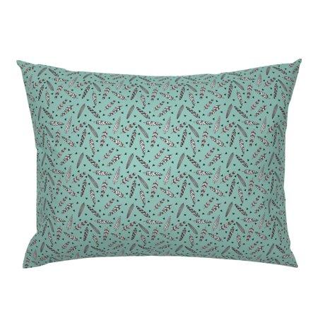 Feather Tri Feathers Baby Mint Southwest Pillow Sham by Roostery Mist Pillow Sham