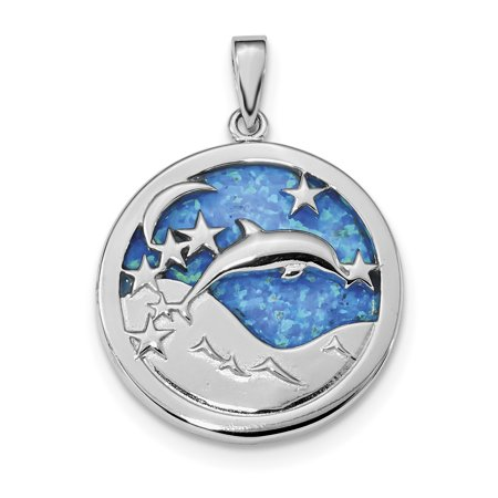 Silver Turquoise Inlay Pendant (925 Sterling Silver Blue Inlay Created Opal Dolphins Pendant Charm Necklace Sea Life Dolphin Gifts For Women For Her)