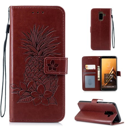 Galaxy A6 2018 Case, Allytech PU Leather Retro Pineapple Fashion Book Cover Design Folio Stand Hand Wrist Detachable Cards Slots Wallet Case Soft TPU Cover for Samsung Galaxy A6 2018, Brown - Leather Boot Covers