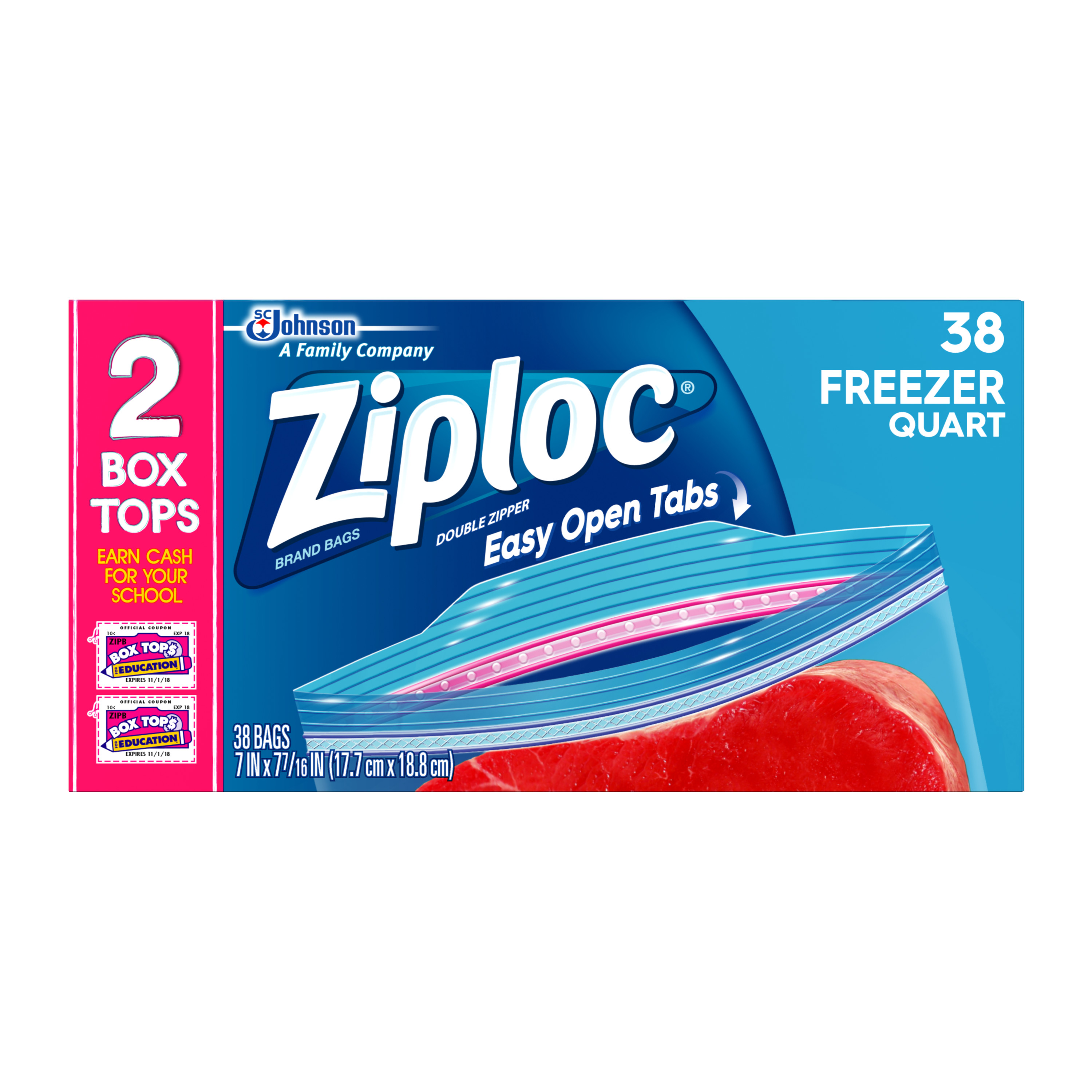 Ziploc Freezer Bags Quart 38 count