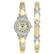 Women's XO Watch and Bracelet Bangle Set GENUINE CRYSTALS 1/2