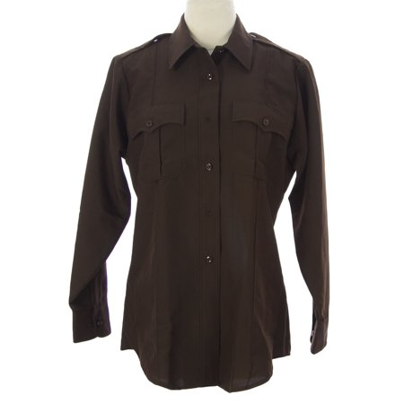 FLYING CROSS Women's LS Button-Front Uniform Shirt Brown (Brown Plaid L/s Shirt)