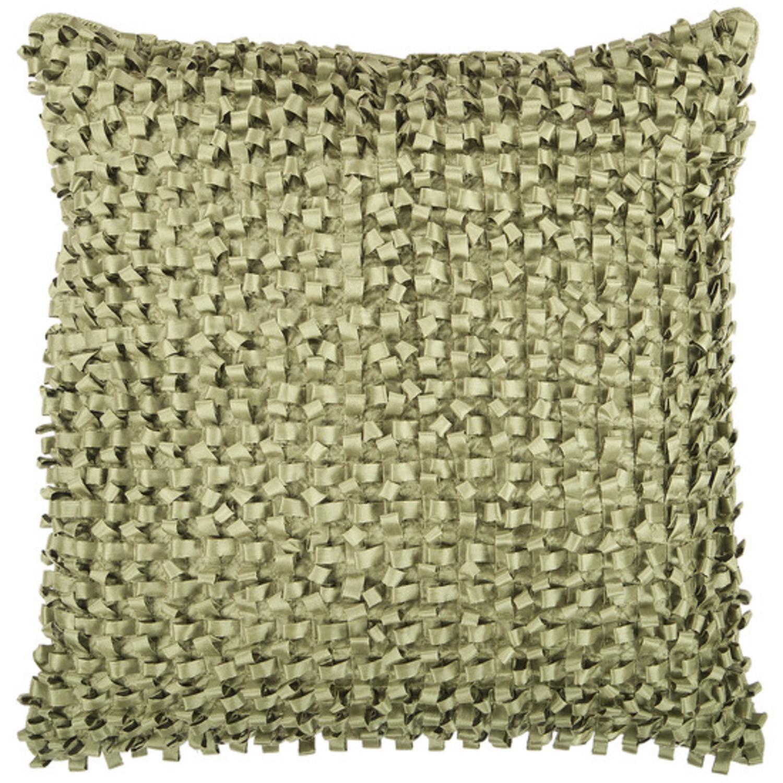 "22"" Fern Green Ribbon Weave Decorative Throw Pillow"