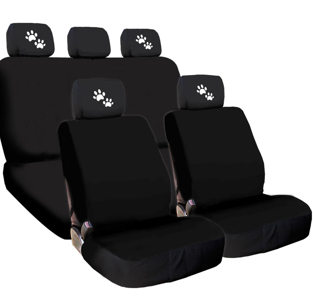 New Design 4X Paws Logo Accessories Headrest w/ Black Cloth Car Seat Covers