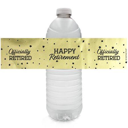Gold Foil Retirement Water Bottle Labels - 24ct - Happy Retirement Decorations - Black and Gold Party Supplies - 24 Count - Black Decorations For Parties