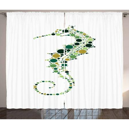 Seahorse Curtains 2 Panels Set