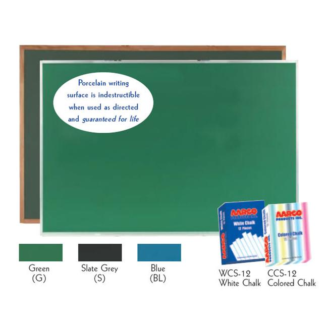 Aarco Products DS4896S Porcelain on Steel ChalkBoard Satin Anodized Aluminum Frame - Slate Grey