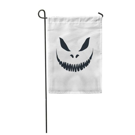 KDAGR Yellow Smile Scary Face White for Halloween Jack Evil Creepy Skeleton Horror Garden Flag Decorative Flag House Banner 12x18 inch](Scary Halloween Smiley Faces)