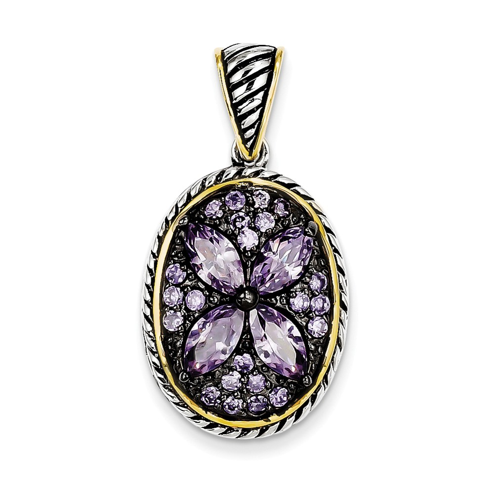Sterling Silver Gold-Plated Antiqued Flower CZ Pendant.