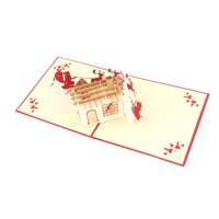 Unique Bargains Christmas Festival Paper 3D Hollow Out House Design Gift Greeting Card