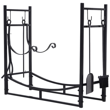 Outsunny Firewood Log Rack Holder with Fireplace Tools, Indoor Outdoor, Wrought Iron, 33