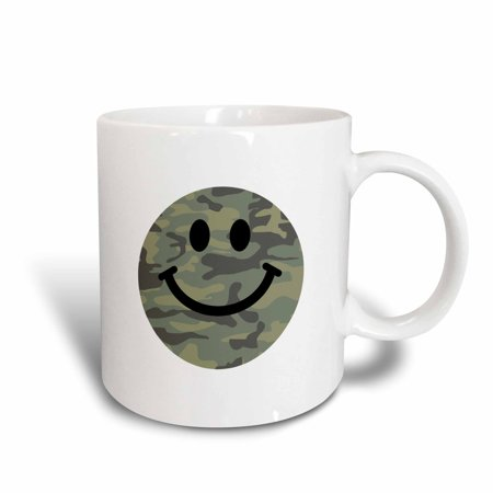 3dRose Green camo pattern smiley face on white - happy army print smilie - military style camouflage, Ceramic Mug,