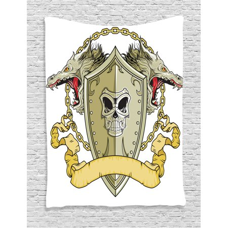 Dragon Decor Tapestry, Skull Knights Shield with Dragon Head and Scroll Medieval Warrior Myth Theme, Wall Hanging for Bedroom Living Room Dorm Decor, 60W X 80L Inches, Yellow White, by Ambesonne](Medieval Times Theme)