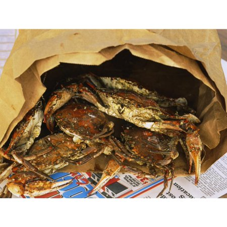 Close-up of Steamed Crabs in a Paper Bag, Maryland, USA Print Wall Art ()