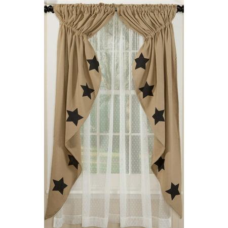 Deluxe Burlap Natural Tan Stencil Star Prairie Curtain Deluxe Window Sash Lift
