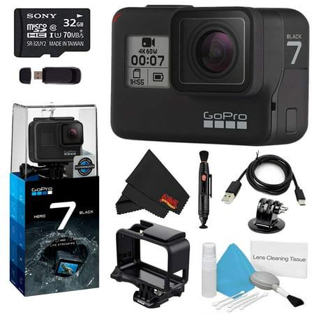 - GoPro HERO7 Black 32GB Bundle w/Cleaning Kit, Lens Pen Cleaner, and Memory Card Reader