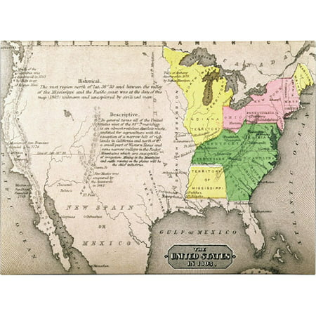 Trademark Art 'Map of the United States in 1803' Canvas Art