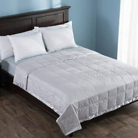 Puredown Light Weight White Down Blanket With Satin Weave, Grey, Full/Queen Size ()