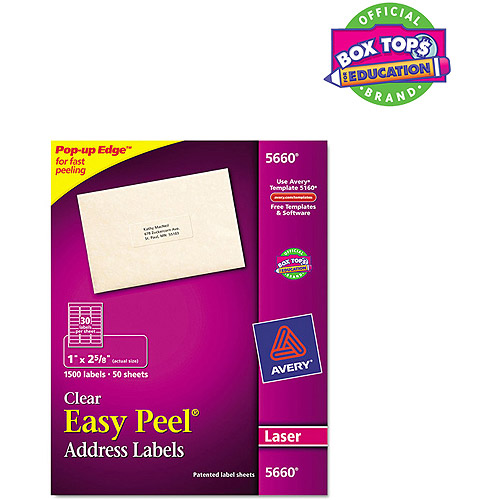 "Avery 5660 Easy Peel Clear Mailing Labels for Laser Printers, 1"" x 2-5/8"", 1500 Labels/Pack"
