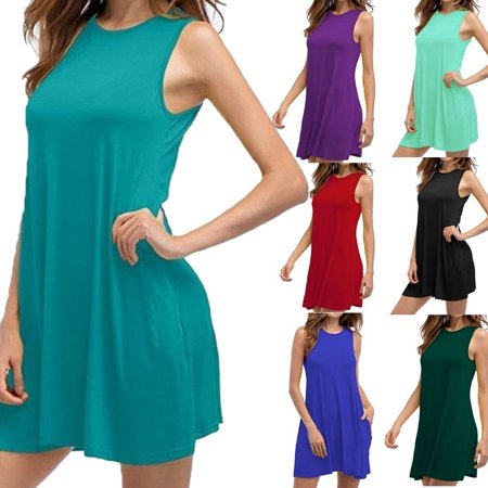 Women's Sleeveless Dresses Summer Casual Loose Plus Size Solid Color Pleated Cotton - Rose Ruffle Dress