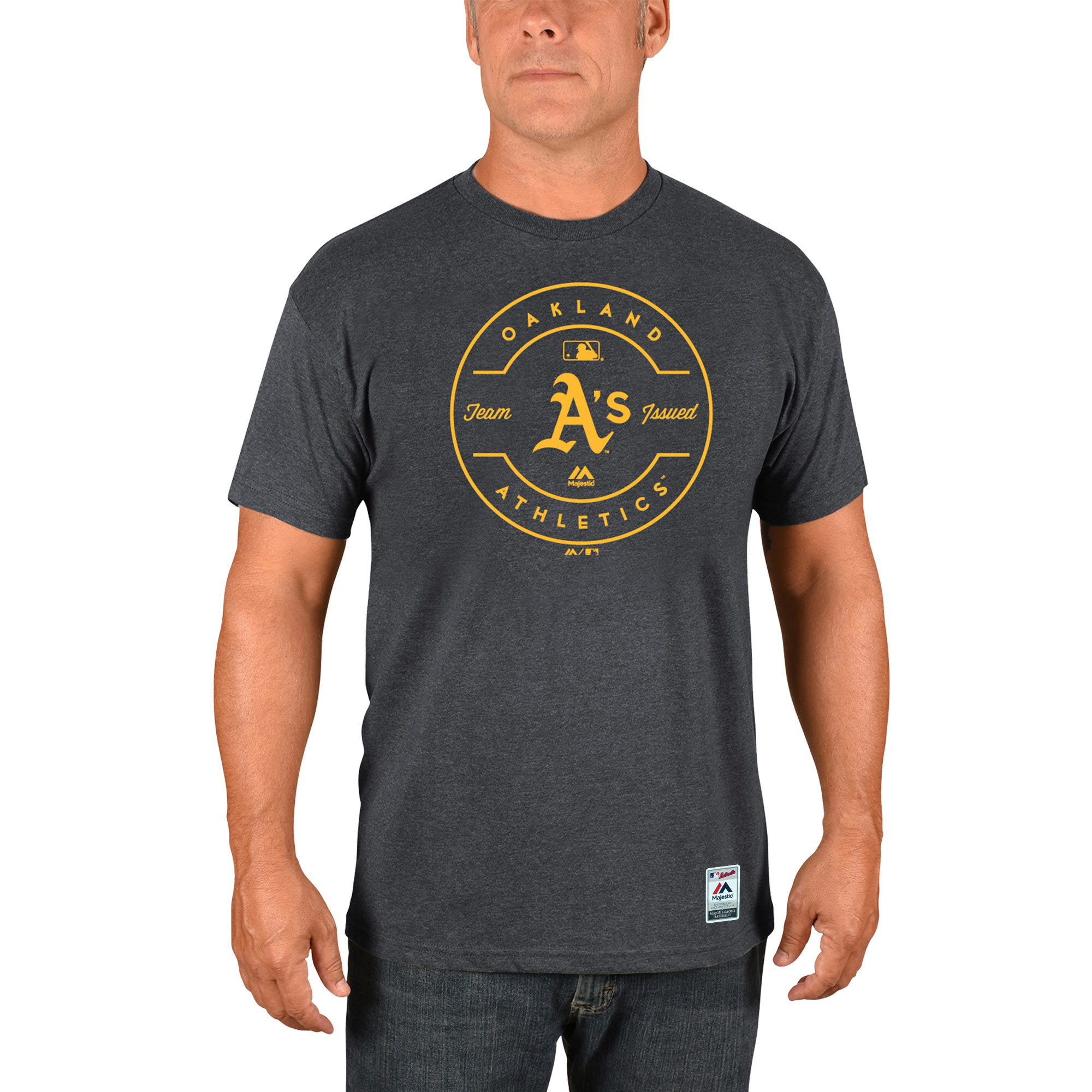 Oakland Athletics Majestic Authentic Collection Clubhouse Team Issue T-Shirt - Heathered Charcoal