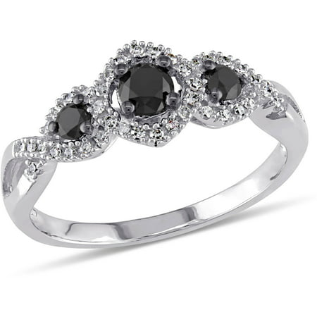 1/2 Carat T.W. Black and White Diamond 10kt White Gold Three Stone Engagement (3 And A Half Carat Diamond Ring)