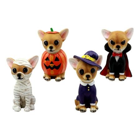 Ebros Halloween Tricks For Treats Feisty Chihuahuas Figurine Set 4