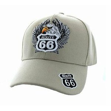 - Route 66 Embroidered Cap with Eagle- Tan