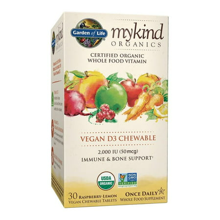 Garden of Life Mykind Organics Vitamin D3 Chewables, Raspberry-Lemon, 30 Ct ()