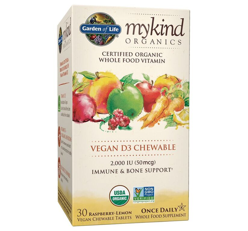 Garden of Life Mykind Organics Vitamin D3 Chewables, Raspberry-Lemon, 30 Ct