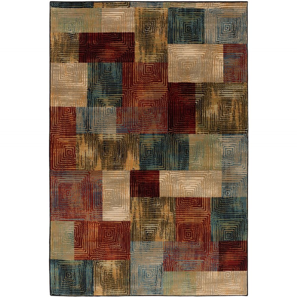 Transitional Calistoga Collection Area Rug in Checked and Oval, Rectangle, Round, Runner Shape