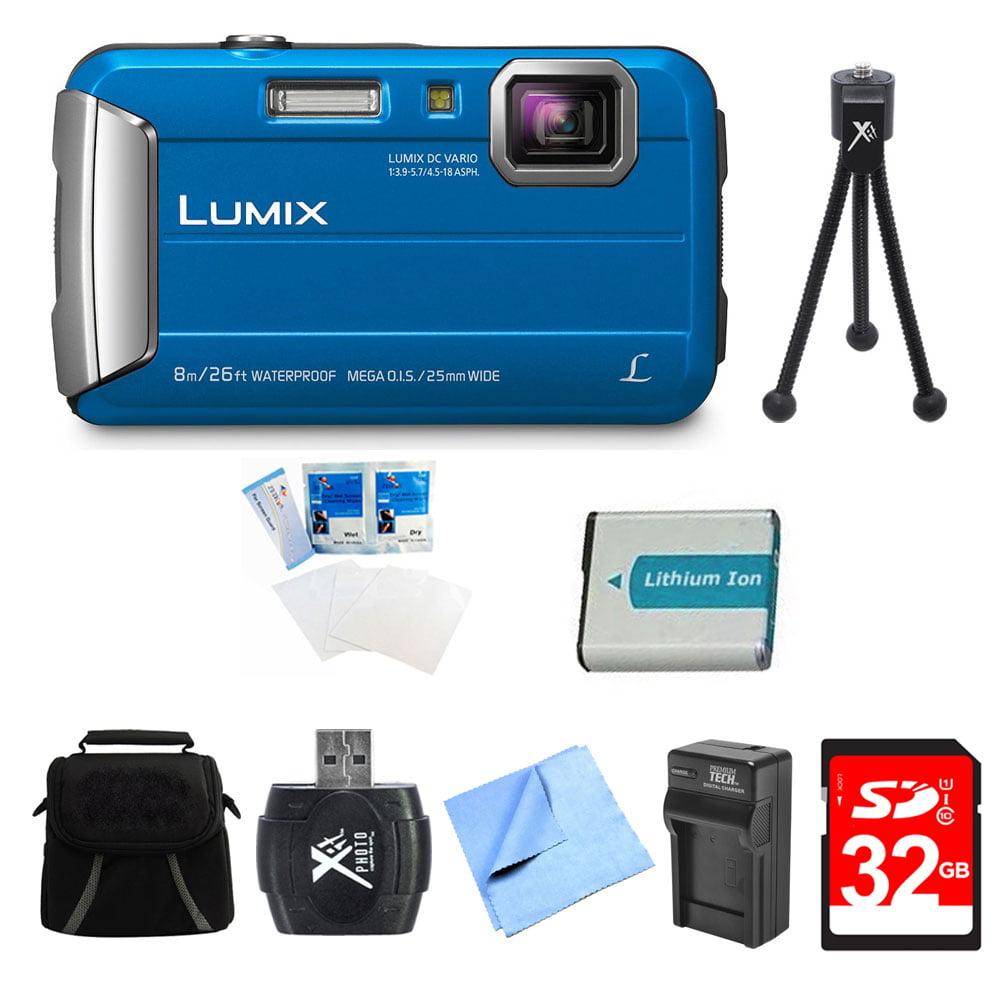 Panasonic LUMIX DMC-TS30 Active Tough Blue Digital Camera 32GB Bundle w/ Camera, 32GB Card, Compact Bag, Battery, Card Reader, Battery Charger, Mini Tripod, Screen Protectors, and Micro Fiber Cloth