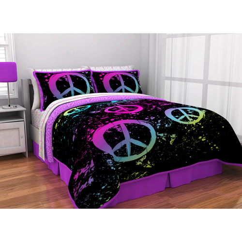 latitude peace paint reversible bed in a bag bedding set - walmart