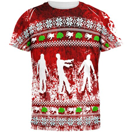 Ugly Christmas Sweater Bloody Zombie Attack Survivor All Over Mens T (Halloween's Over Time For Christmas)