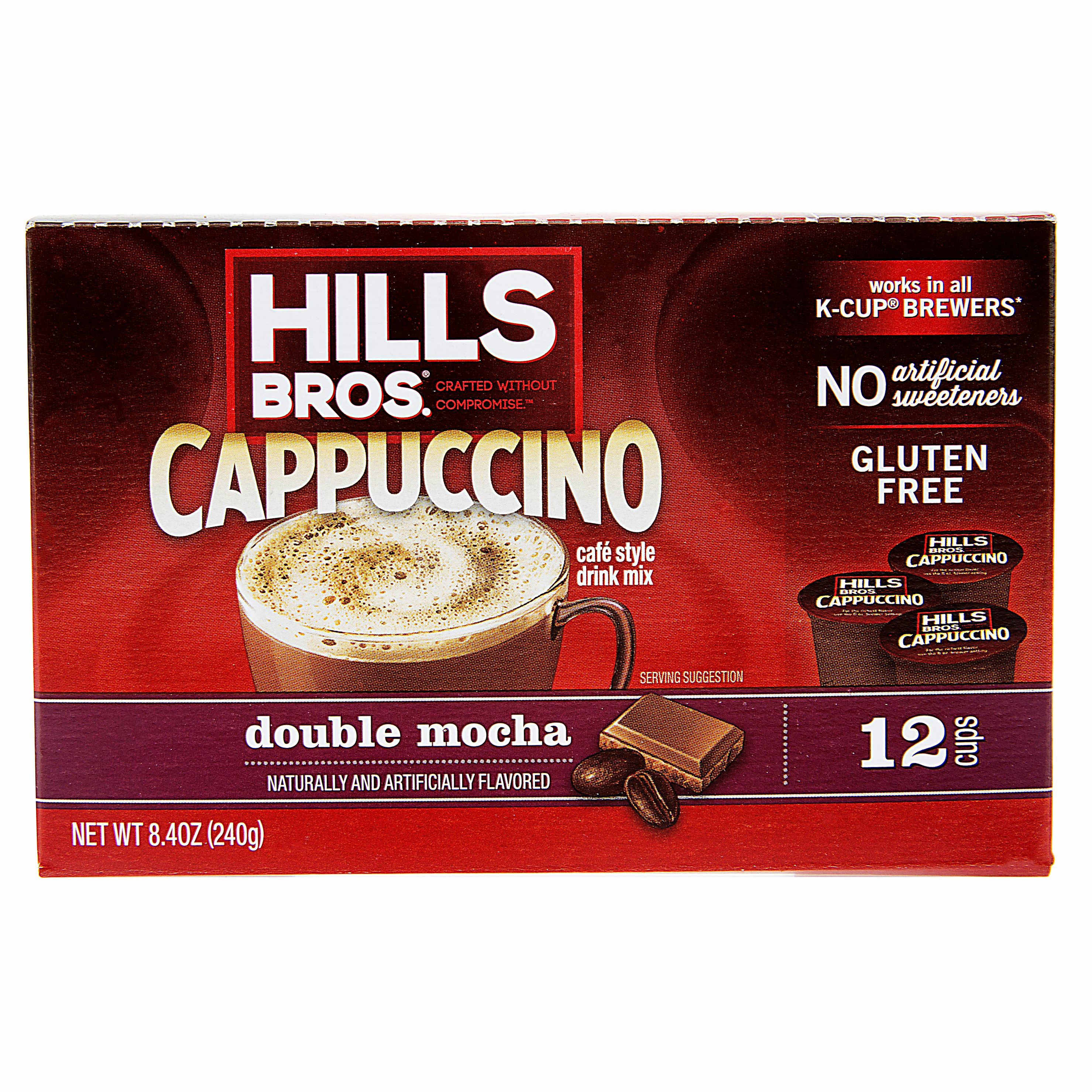 Hills Bros. Double Mocha Cappuccino Single Serve Cups, 12 Count Box