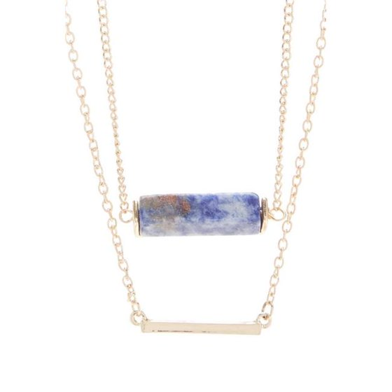 0d4694ce4d655 Double Layer Charm Necklace with Druzy & Gold Bar, Sapphire Quartz