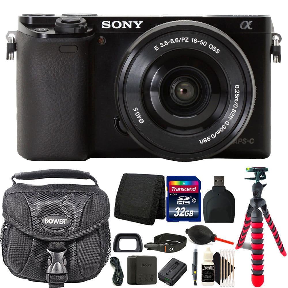 Sony Alpha a6000 24.3MP Built-In WIFI Black Mirrorless Digital Camera + 16-50mm Lens & 32GB Accessory Kit
