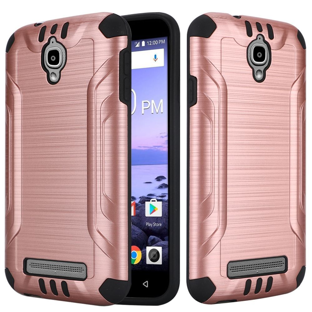 Coolpad Canvas Case, by Insten Dual Layer [Shock Absorbing] Hybrid Brushed Hard Plastic/Soft TPU Rubber Case Cover For Coolpad Canvas, Black