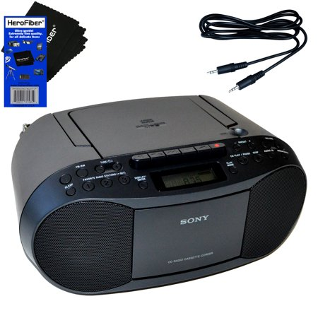 Sony Portable CD Player Boombox with AM/FM Radio & Cassette Tape Player + Auxiliary Cable for Smartphones, MP3 Players & HeroFiber Ultra Gentle Cleaning (Sony 5 Disc Cd Player Cdp C235)